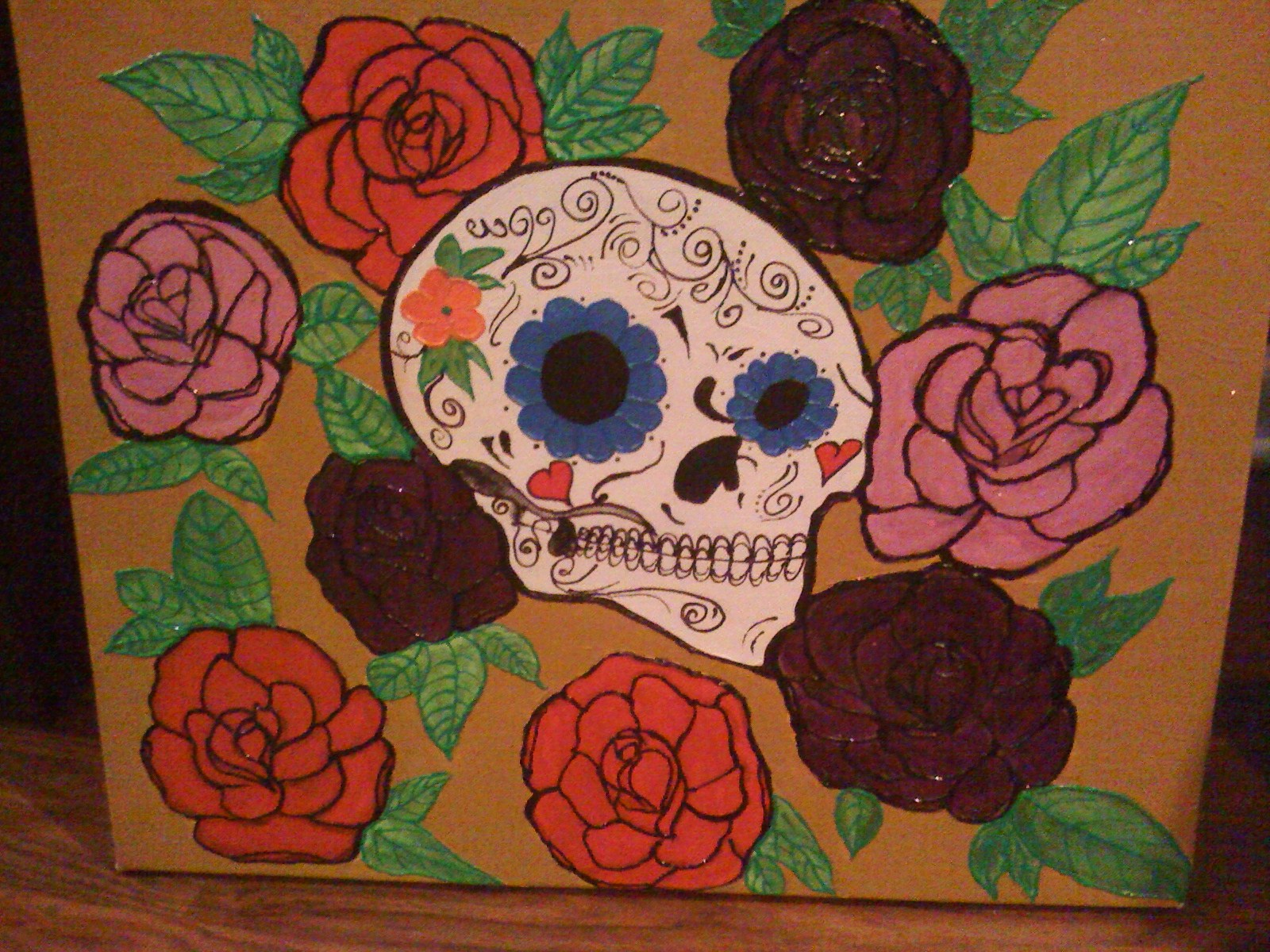 Skull and Roses Tattoo Art on Canvas
