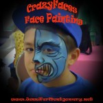 Blue half face face painting Montgomery County PA Birthday Party