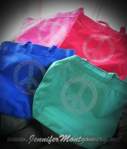 Rhinestone Bling  Peace Sign Bags