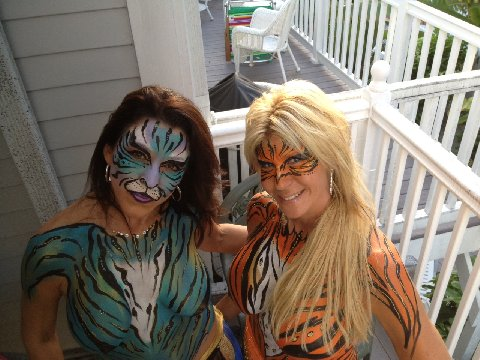 Key West Fantasy Fest Body Painting Cats by Body Painter Jennifer