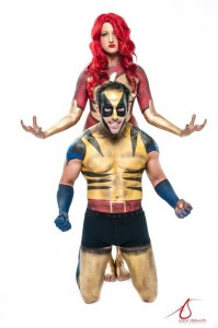 Phoenix and Wolverine Body Painting Philadelphia Photoshoot by Jennifer Montgomery with Aaron Stallworth Photography