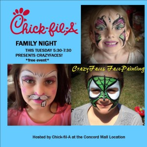 Face Painting Delaware Chick-fil-A Concord Mall Family Night