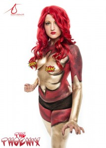 Fantasy Fest Body Paint Superhero Phoenix by Body Painter Jennifer Montgomery Key West,FL