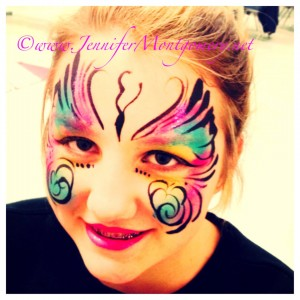 Butterfly Face Painting Wilmington Delaware by Face Painter Jennifer Montgomery of CrazyFaces Face Painting Philadelphia PA