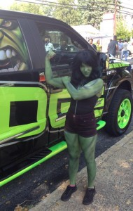 She Hulk Body Painting Car Show Collegeville PA Body Painter Jennifer Montgomery Philadelphia & Key West Body Painting
