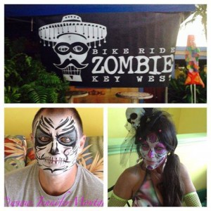 Key West Zombie Bike Ride Face Painting Fantasy Fest