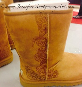 Custom Designed UGGS Etched with Henna designs Philadelphia PA Jennifer Montgomery Henna Artist