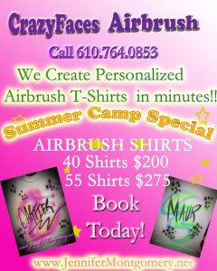 Summer Camp Special Airbrush Tshirts Philadelphia PA Airbrush Parties and events 610.764.0853