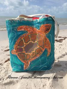 Sea Turtle Painting Key West Artist Tropical Island Painting Jennifer Montgomery Art 610.764.0853