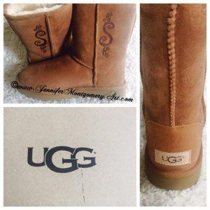 Custom Etched UGG Boots Birthday Gift Philadelphia PA Key West Artist Jennifer Montgomery