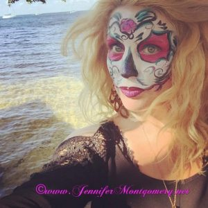 Sugar Skull Fantasy Fest Key West Zombie Bike Ride Body Painter Jennifer Montgomery www.jennifermontgomery.net 610.764.0853