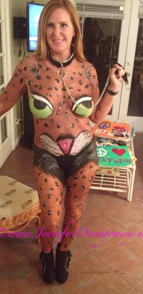 Cat Body Painting Fantasy Fest 2015
