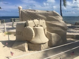 Philly Liberty Bell Sand Sculpture Key West Face Painting Casa Marina 4th of July Key West CrazyFaces FacePainitng and Body Ar