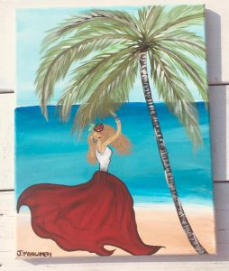 Princess Palm Tree Key West Artist Jennifer Montgomery Paint Party Sip n Paint Key West