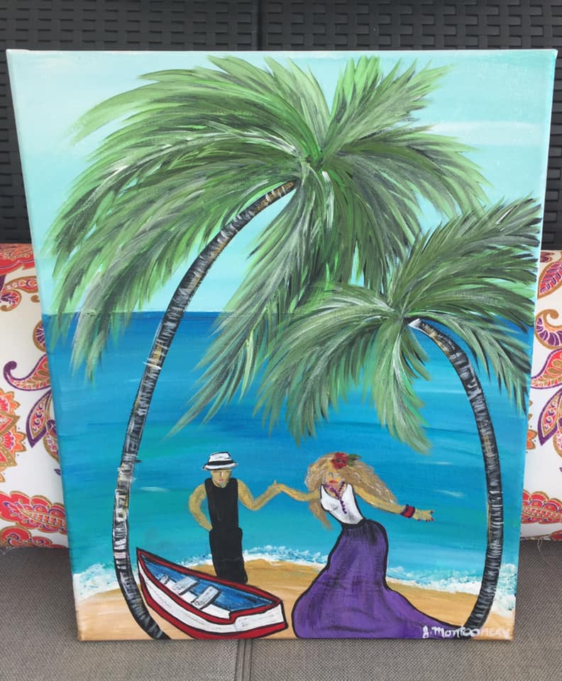 Princess Palm Tree Boat Ride Key West Artist Jennifer Montgomery Paint Party Sip n Paint