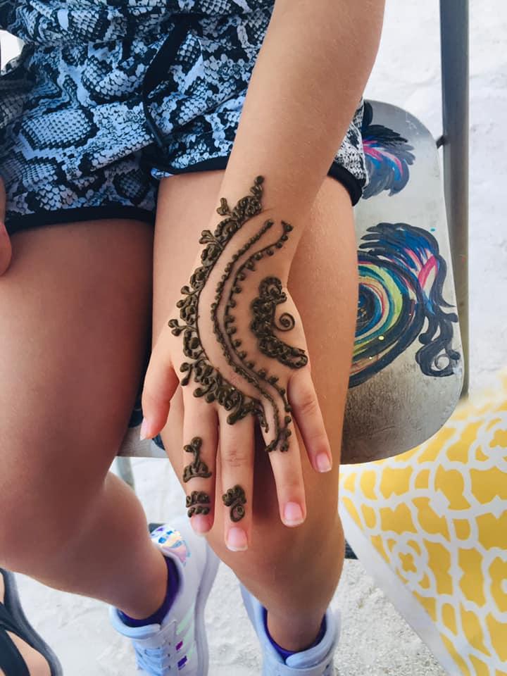 Cheeca Lodge Islamorada Henna and Hair Wraps Keys Key West Henna Body Art by Henna Artist Jennifer Montgomery in Key West of CrazyFaces FacePainting Philadelphia Miami Key West