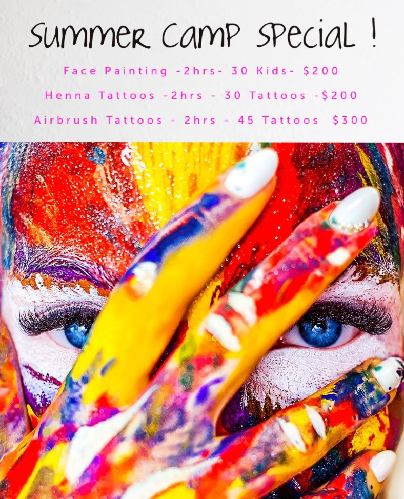 Philadelphia Summer Camp Face Painting, Henna and Airbrush Specials